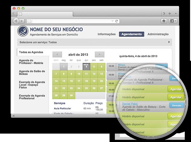 Tela de visualização e controle de agendamentos e horários livres no Cucco