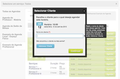 Exemplo da tela de selecionar clientes para agendar.
